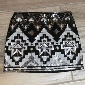 Express Sequined Aztec Skirt Size XS